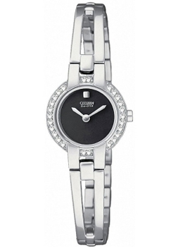 Citizen Ladies Silhouette Crystal Bangle Stainless Steel Black D