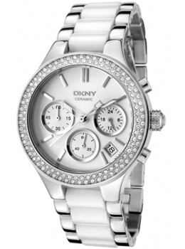 DKNY Women's Chronograph White Crystal White Ceramic& Stainless